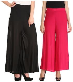 C&s Shopping Gallery Black;Pink Viscos Plazzo