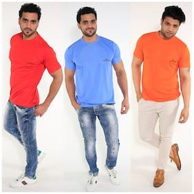 Caesar Men Multi Slim fit Polyester Round neck T-Shirt - Pack Of 3