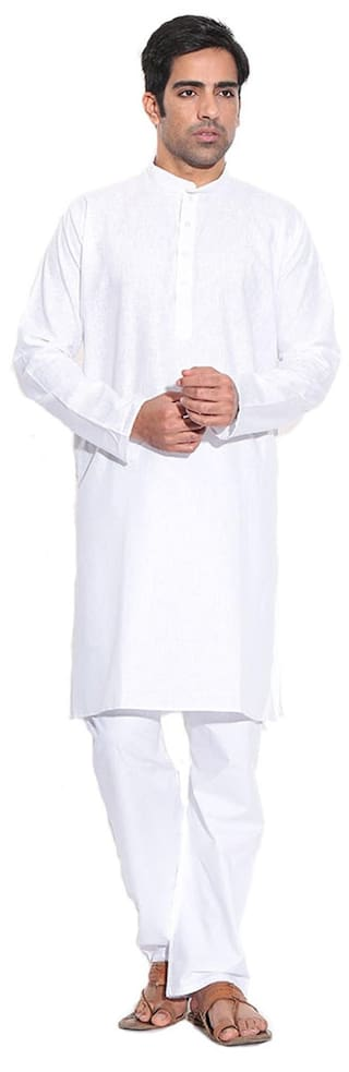 Calibro Men Regular Fit Cotton Full Sleeves Solid Kurta Pyjama - White