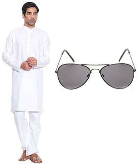 Calibro Men Regular fit Cotton Full sleeves Solid Kurta Pyjama - White