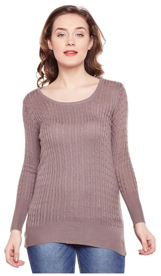 1e62657a9 Buy Camey Women s Round Neck Twisted Cable Knit Pullover Sweater ...
