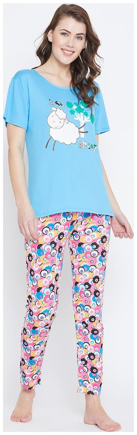 Camey Women Polyester Printed Top and pyjama set - Blue