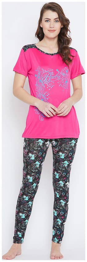 Camey Women Polyester Printed Top and Pyjama Set - Pink