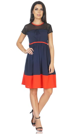 8aaf2c1e6d6e Buy CAMILLA MAX Crepe Solid A-line Dress Multi Online at Low Prices ...