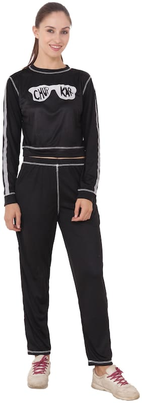 CAMILLA MAX Women Cotton Track Suit - Black