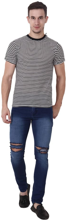 CAMILLA MAX Men Regular fit Round neck Striped T-Shirt - Multi