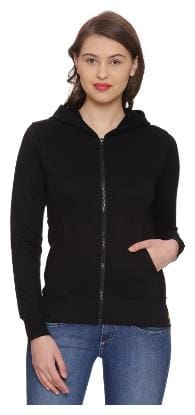 Campus Sutra Women Solid Sweatshirt - Black