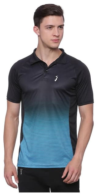 Campus Sutra Men Polo Neck Sports T-Shirt - Blue