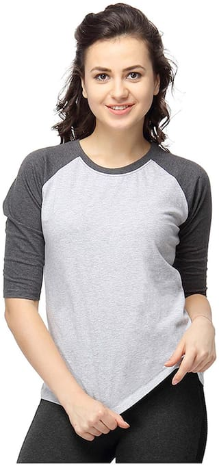 Campus Sutra Women Round Neck Quarter Sleeve T-Shirts