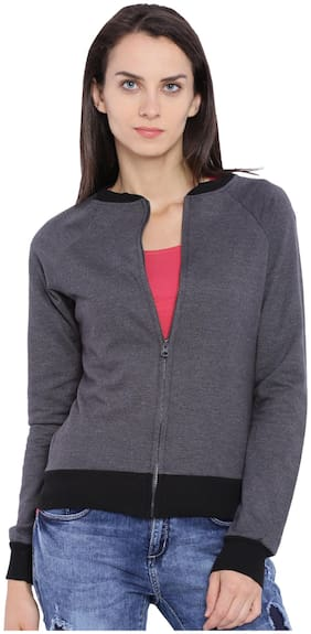 Campus Sutra Women Plain Zipper Hoodie