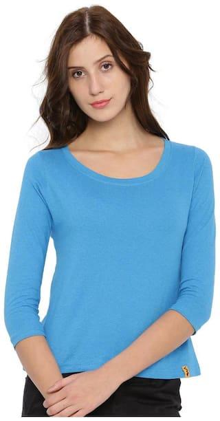 Campus Sutra Women Solid Round neck T shirt - Blue