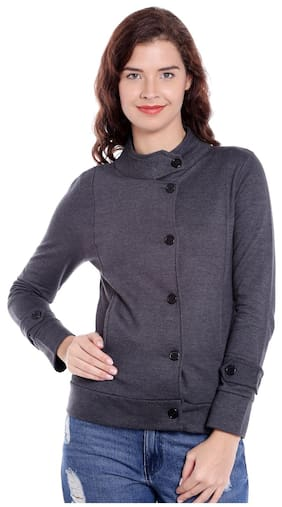 Campus Sutra Women Solid Sweatshirt - Grey