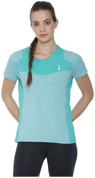 fcc9d6cb77f Campus Sutra Striped Women Round neck Light Green Sports T-Shirt