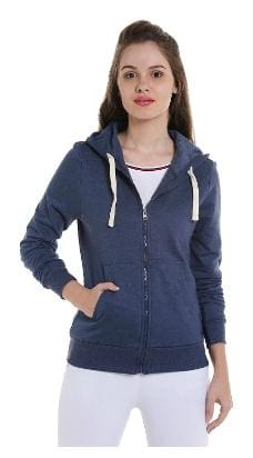 Campus Sutra Women Solid Sweatshirt - Blue