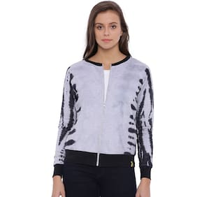 Campus Sutra Women Grey Zipper Hoodie
