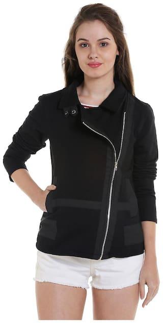 Campus Sutra Women Solid Regular Jacket - Black