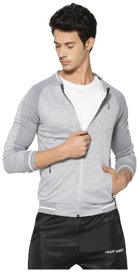 Campus Sutra Men Polyester Jacket - Grey