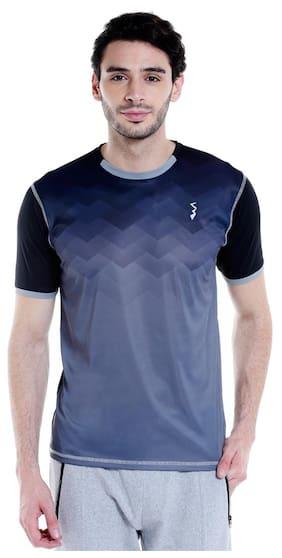 Campus Sutra Men Round Neck Sports T-Shirt - Blue