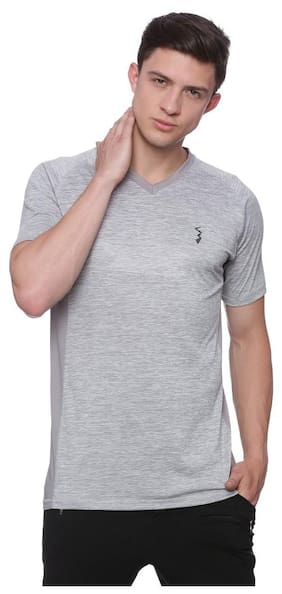 Campus Sutra Men Polo Neck Sports T-Shirt - Grey