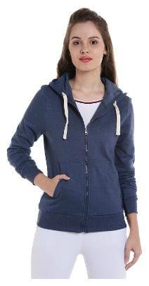 Campus Sutra Women Solid Sweatshirt - Blue