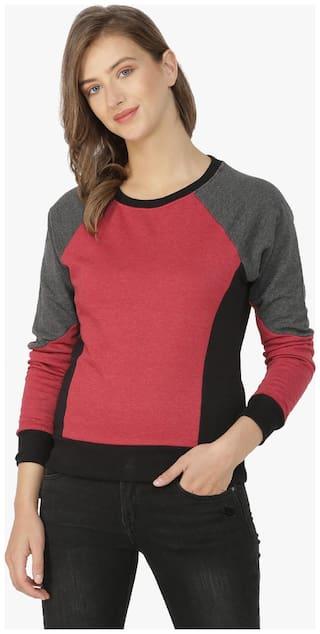 Campus Sutra Women Solid Sweatshirt - Maroon