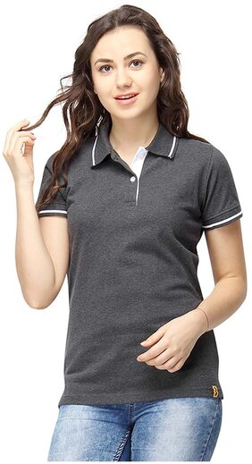 Campus Sutra Women Polo Neck With Tipping T-Shirts