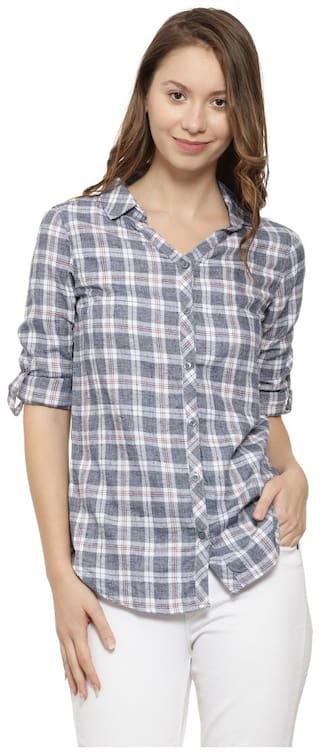 Campus Sutra Women Grey Checked Regular Fit Shirt