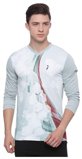 Campus Sutra Men V Neck Sports T-Shirt - White