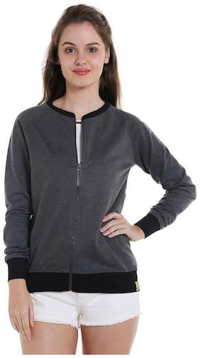 Campus Sutra Women Solid Sweatshirt - Grey