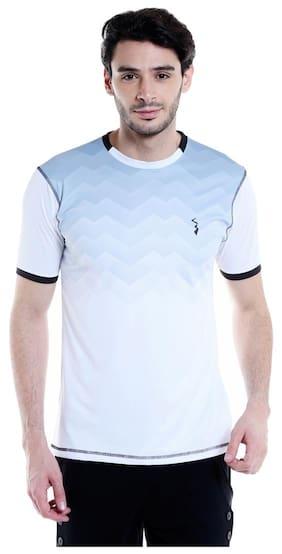 Campus Sutra Men Round Neck Sports T-Shirt - White