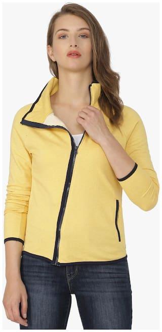 Campus Sutra Women Solid Sweatshirt - Yellow