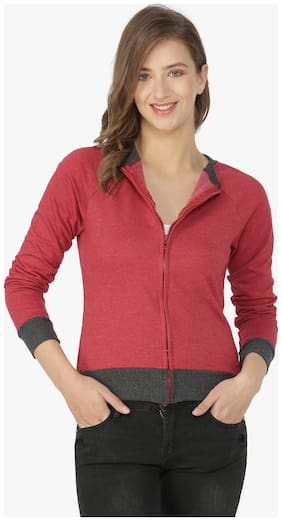 Campus Sutra Women Solid Sweatshirt - Maroon