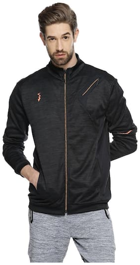 Campus Sutra Men Polyester Jacket - Black