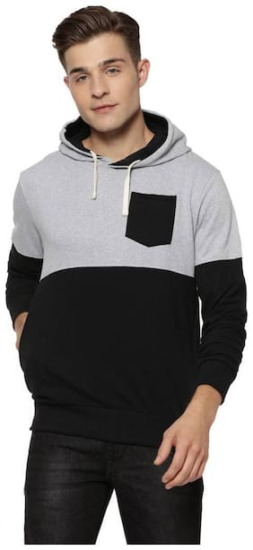 Campus Sutra Men Cotton Hoodie - Black