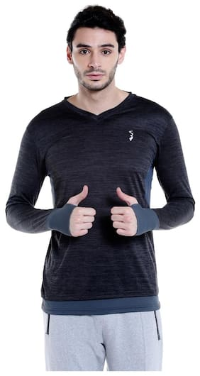 Campus Sutra Men V Neck Sports T-Shirt - Black
