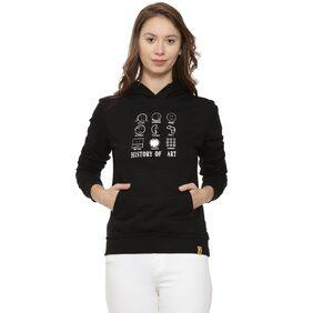 Campus Sutra Women Printed Hoodie - Black