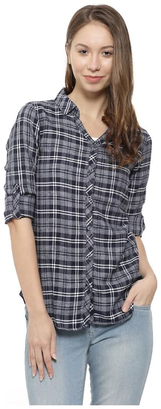 Campus Sutra Women Regular fit Checked Shirt - Grey