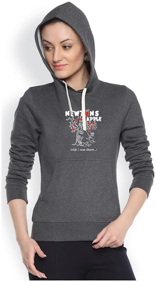 Campus Sutra Black Fleece And Cotton Hoody