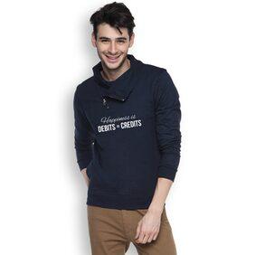 Campus Sutra Men Cotton Sweatshirt - Blue