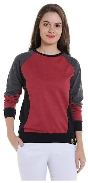Campus Sutra Women Solid Sweatshirt - Red