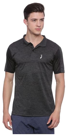 Campus Sutra Men Polo Neck Sports T-Shirt - Black