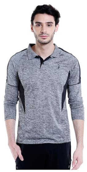 Campus Sutra Men High Neck Sports T-Shirt - Grey