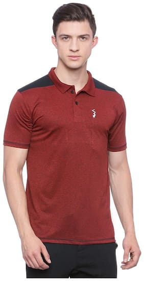 Campus Sutra Men Polo Neck Sports T-Shirt - Red