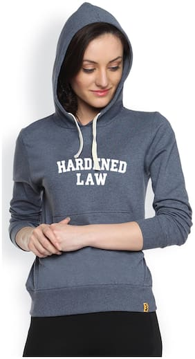 Campus Sutra Blue Fleece And Cotton Hoody
