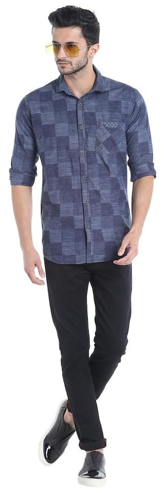 Blue Casual Men Campus Shirt Sutra ePFAu