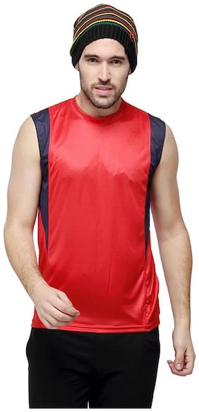 Campus Sutra Men High Neck Sports T-Shirt - Red