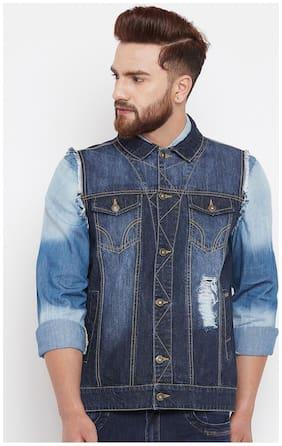 Men Denim Sleeveless Denim Jacket