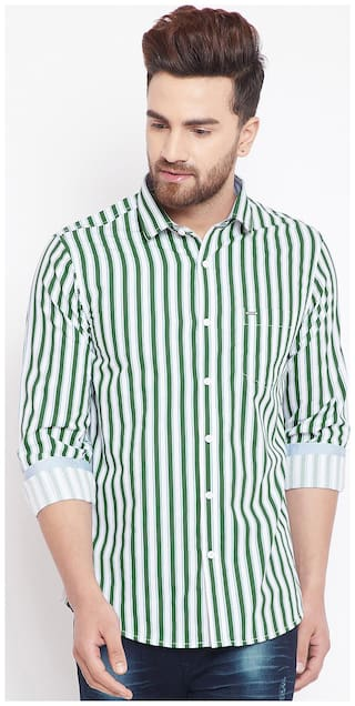 CANARY LONDON Men Green Vertical Stripes Slim Fit Casual Shirt
