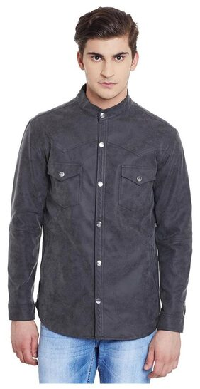 Canary London Solid Slim Fit Suede Jacket