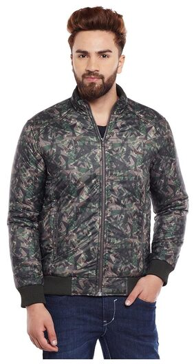 Canary London Olive Printed Slim Fit Bomber Jackets